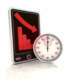 Descending graph time depending stats on smart phone display — Stockfoto