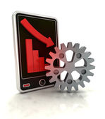 Descending graph of industrial stats on smart phone display — Stock Photo