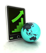 Increasing graph stats of Asian countries on smart phone display — Stock Photo