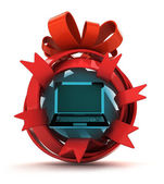 Opened red ribbon gift sphere with new laptop inside — Stock Photo