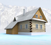 Classical mountain cabin in calm weather — Stock Photo