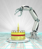 Cybernetic automatic robotic hand technology celebration render — Stock Photo