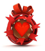 Opened red ribbon gift sphere with red hearth inside — Stock Photo