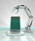 Industrial cybernetic robotic hand creation of futuristic smart phone render — Stock Photo