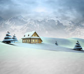 Mountain landscape with cottage with high mountain landscape — Stock Photo