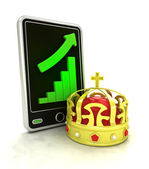Increasing graph stats as royal trade business on smart phone display — Stock Photo