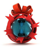 Opened red ribbon gift sphere with sand glass inside — Stock Photo