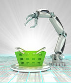 Robotic hand automatic shopping in trade business render — Stock Photo