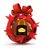 Opened red ribbon gift sphere with security padlock inside — Stock Photo