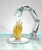 Cybernetic robotic hand creation of arteficial intelligence render — Stock Photo