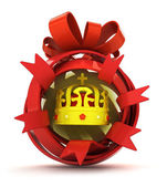 Opened red ribbon gift sphere with golden kings crown inside — Stock Photo
