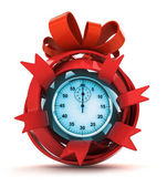 Opened red ribbon gift sphere with blue stopwatch inside — Stock Photo