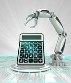 Cybernetic robotic hand technological progress calculation render — Stock Photo