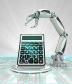 Cybernetic robotic hand technological progress calculation render — Stock Photo