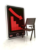 Descending graph of furniture production on smart phone display — Stock Photo