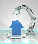Cybernetic robotic hand automatic creation in building development render — Stock Photo