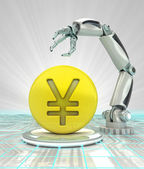 Yuan coin investment to robotic hand use in modern industries render — Stock Photo