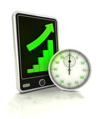 Increasing graph stats of in time production on smart phone display — Stock Photo