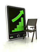 Increasing graph of furniture production on smart phone display — Stock Photo