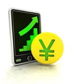 Increasing graph stats of yuan currency business on smart phone display — Stock Photo