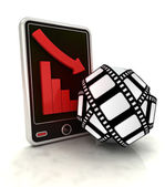 Descending graph of cinematography production on smart phone display — Stock Photo