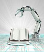 Cybernetic robotic hand technological knowledge description render — Stock Photo