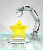 Top star rated cybernetic robotic hand technology render — Stock Photo