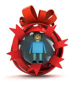 Opened red ribbon gift sphere with man figure inside — Stock Photo