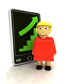 Increasing graph stats of woman info on smart phone display — Stock Photo