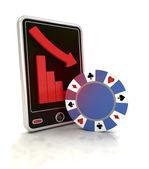 Descending graph of bet games on smart phone display — Foto de Stock