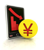 Descending graph of Yuan negative stats on smart phone display — Stock Photo