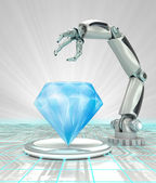 Cybernetic robotic hand creation of artificial diamond render — Stock Photo