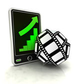 Increasing graph stats of cinematography on smart phone display — Stock Photo