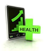 Visualizzare statistiche di grafico crescente di assistenza sanitaria sugli smart phone — Foto Stock