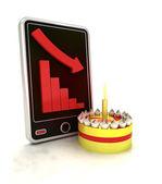 по убыванию негативные граф статистика с тортом на экране смарт-телефона — Стоковое фото