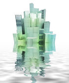 Isolated beautiful modern city island with reflections in the water render — Stock Photo