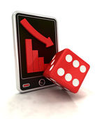 Descending graph negative stats with dice on smart phone display — Stock Photo
