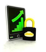 增加图形状态的安全在智能手机上显示 — 图库照片
