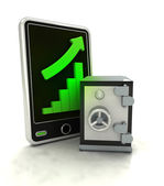 Increasing graph stats with bank vault on smart phone display — Stock Photo