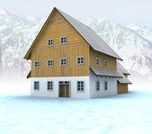 Idyllic mountain cottage with blue sky — Stock Photo