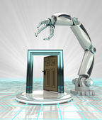 Open way to cybernetic robotic hand automatic technologies render — Stock Photo