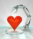 Industrial cybernetic robotic hand creation of artificial love render — Stock Photo