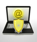Internet surfing and search info with antiviral shield — Stock Photo