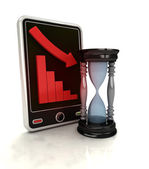 Descending graph time stats on smart phone display — Stock Photo