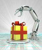 Cybernetic robotic hand celebration with gift surprise render — Stock Photo