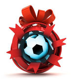 Opened red ribbon gift sphere with football ball inside — Stock Photo