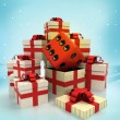 Christmas gift boxes with lucky dice surprise at winter snowfall — Stock Photo
