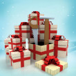 Christmas gift boxes with new tools surprise at winter snowfall — Stock Photo