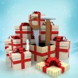 Christmas gift boxes with new tools surprise at winter snowfall  — Lizenzfreies Foto