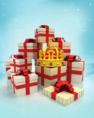 Christmas gift boxes with royal crown surprise at winter snowfall — Foto Stock